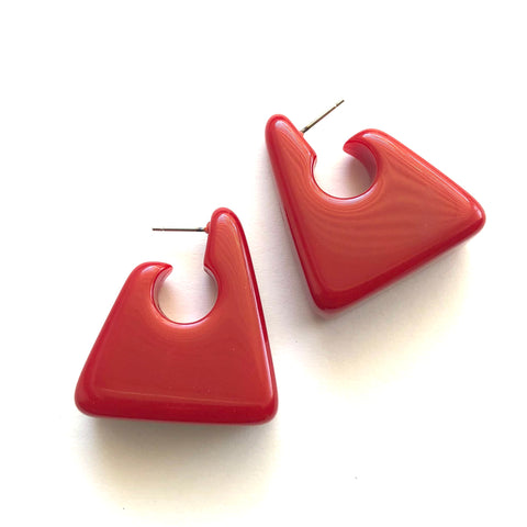 Cherry Red Geometric Geisha Hoop Earrings