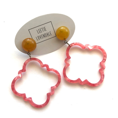 Hot Pink & Honey Amber Marbled Quatrefoil Earrings