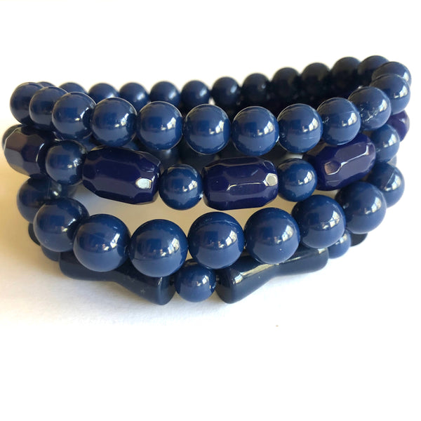 navy blue stack bracelets