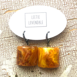 Amber Honey Marbled Moonglow Cube & CZ Bling Drop Earrings