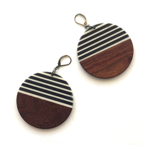 Black & White Striped Resin and Wood Drop Earrings