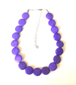 Deep Purple Marbled Disc Lucite Marco Necklace