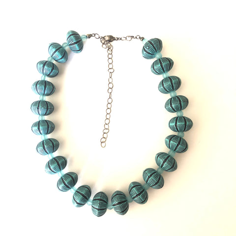 Carved Aqua and Black Marco Vintage Lucite Beaded Statement Necklace