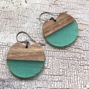 Seafoam Resin and Wood Hatchet Drop Earrings