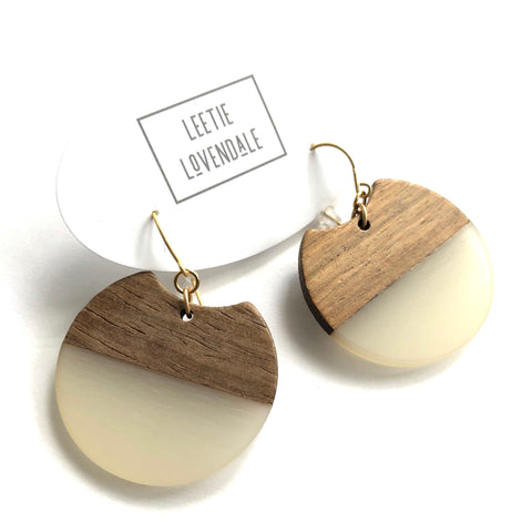 White Resin and Wood Hatchet Drop Earrings