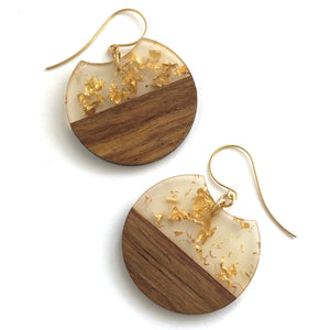 Gold Glitter Resin and Wood Hatchet Drop Earrings