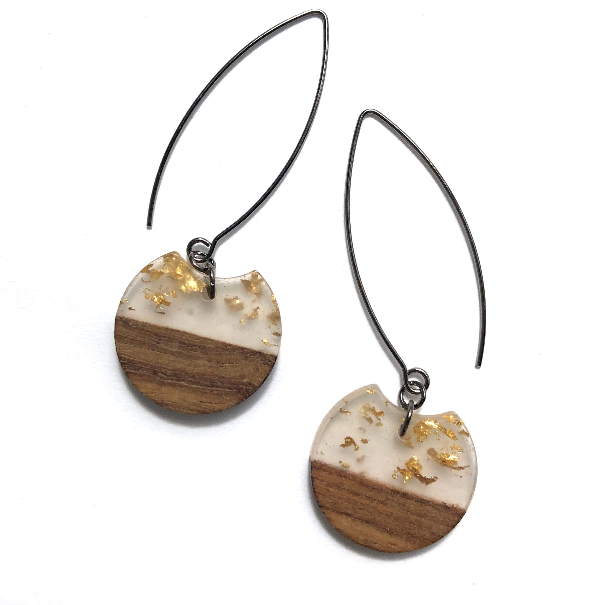 Gold Glitter Resin Raindrop Drop Earrings