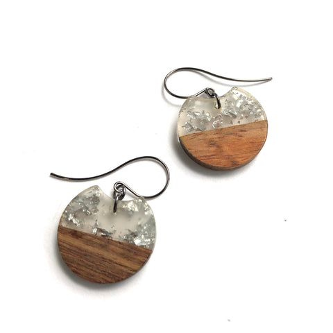 Silver Glitter Resin and Wood Small Hatchet Drop Earrings
