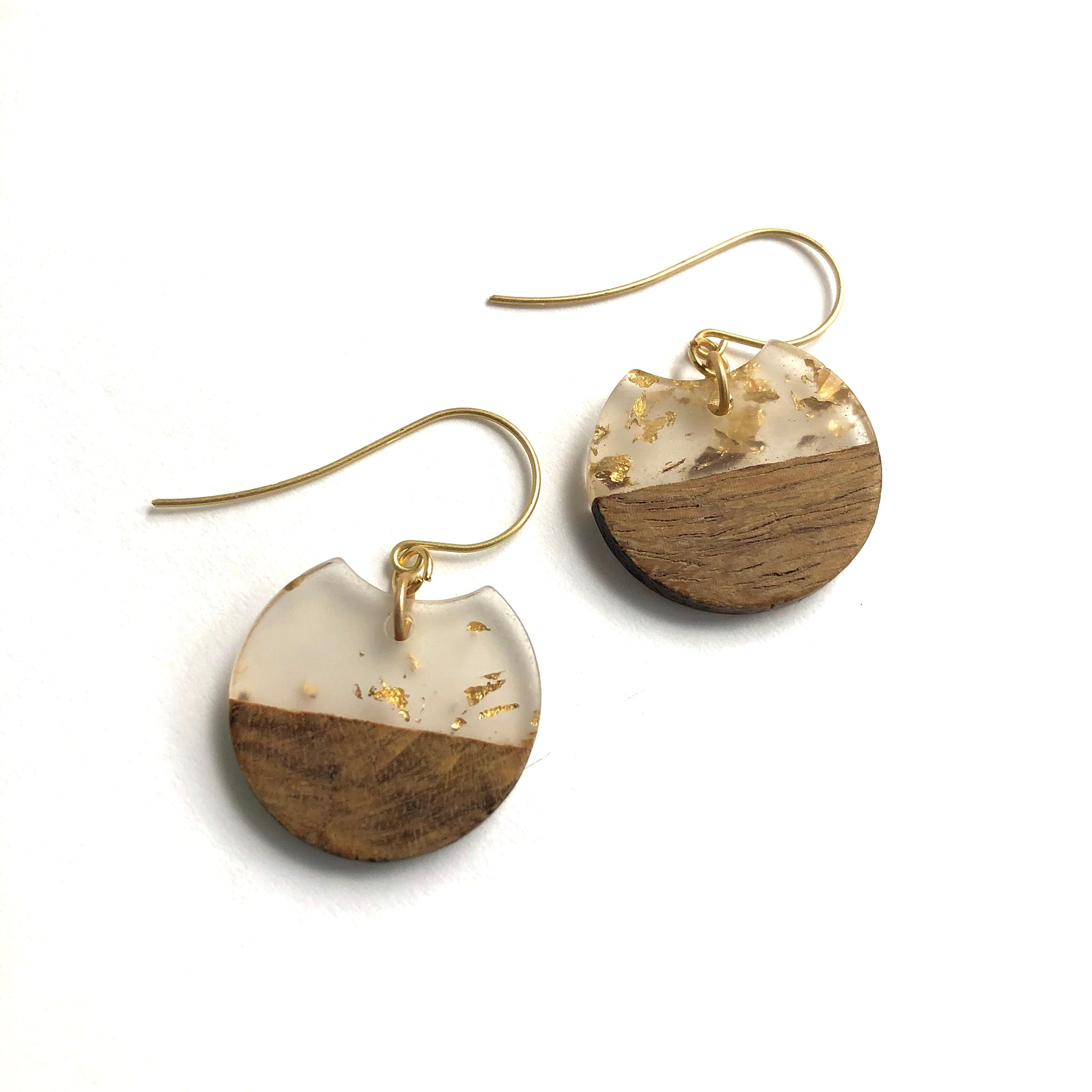 Gold Glitter Resin and Wood Small Hatchet Drop Earrings
