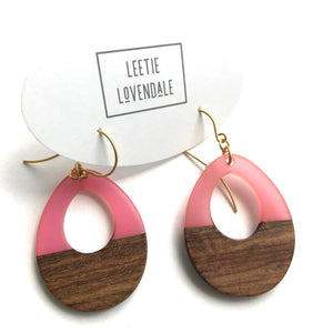 Pink Resin and Wood Teardrop Earrings