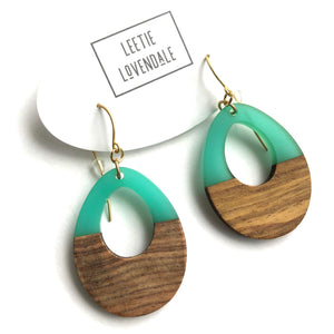 Seafoam Green Resin and Wood Teardrop Earrings