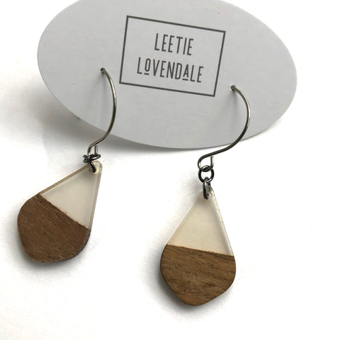 Clear Frosted Resin & Wood Acorn Earrings