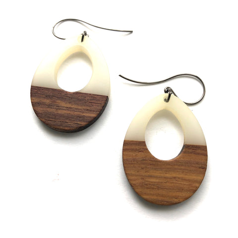 White Resin and Wood Teardrop Earrings
