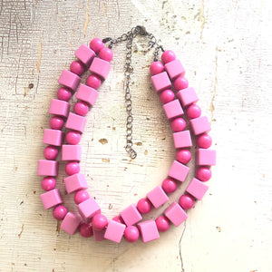 Hot Pink Beaded Lucite Double Strand Necklace