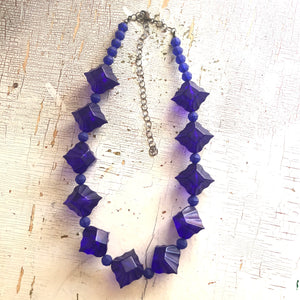 Deep Navy Lucite Marco Necklace