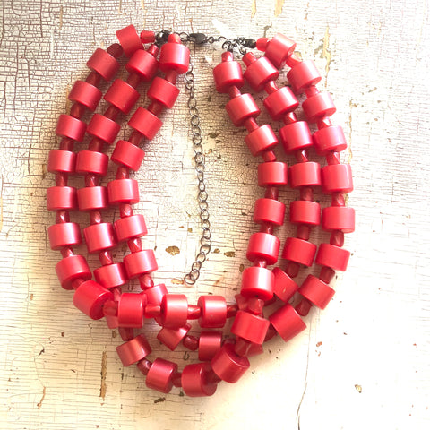 Cherry Red Beaded Tube Multi Strand Morgan Necklace