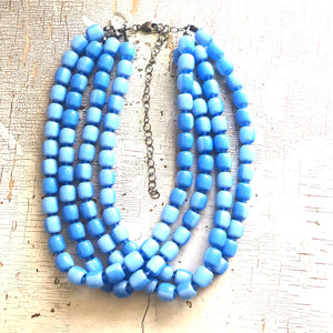 Baby Blue Beaded Four Strand Morgan Necklace