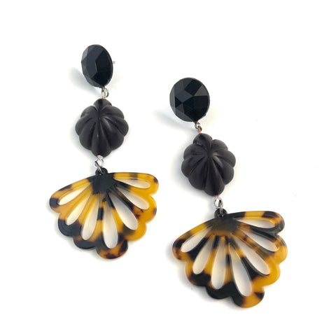 Tortoise Fanfare Lucite Statement Earrings