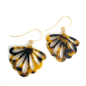 Tortoise Spotted Fan Drop Earrings