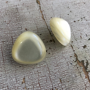 Ivory Moonglow Triangle Retro Button Stud Earrings