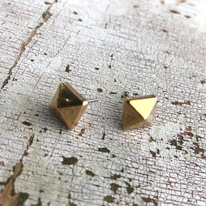 Bronze Square Faceted Acrylic Spike Stud Earrings