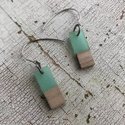 Seafoam Green Resin & Wood Rectangle Drop Earrings