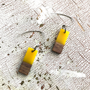 Yellow Resin & Wood Rectangle Drop Earrings