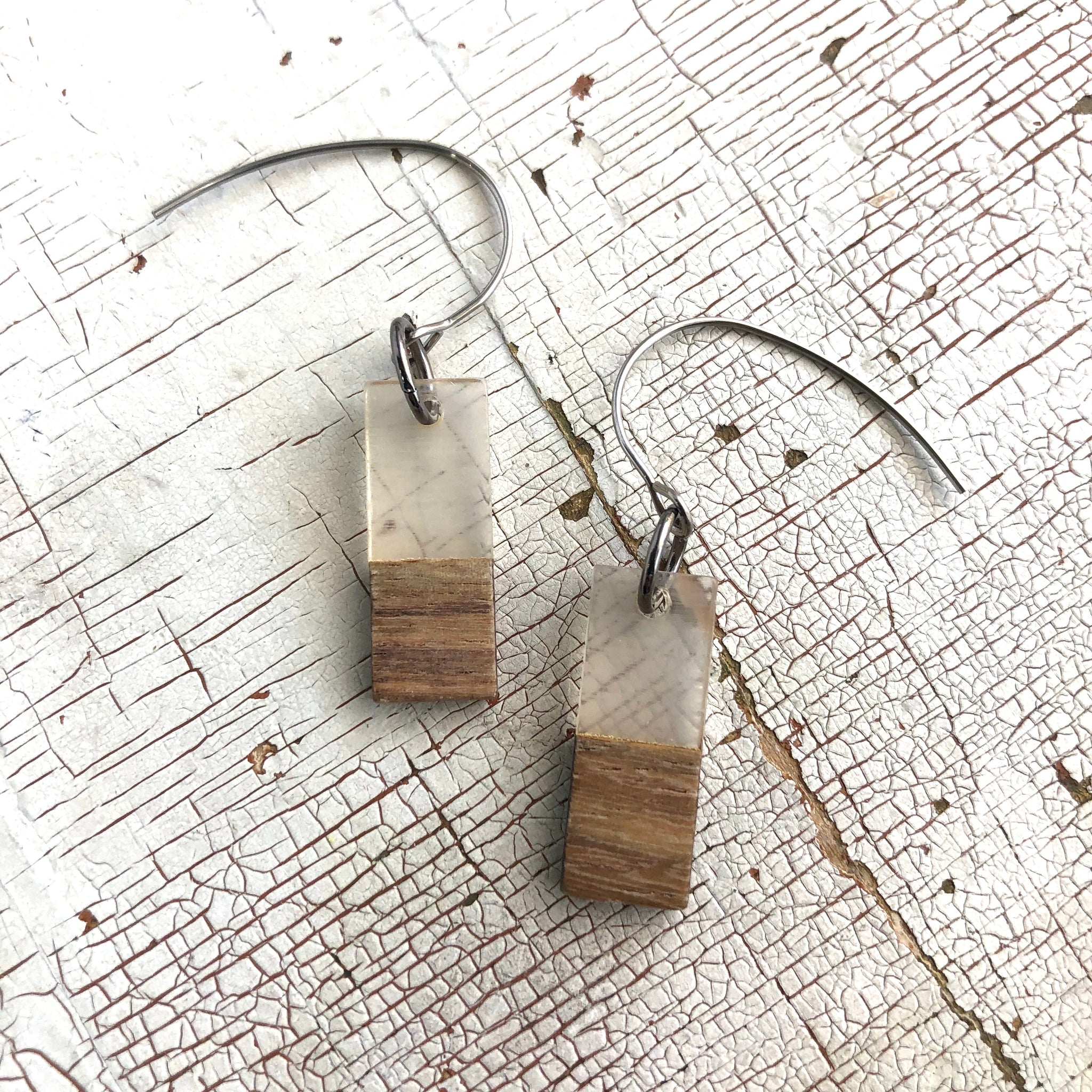 Clear Frosted Resin & Wood Rectangle Drop Earrings