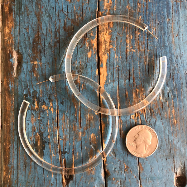 huge lucite clear hoops