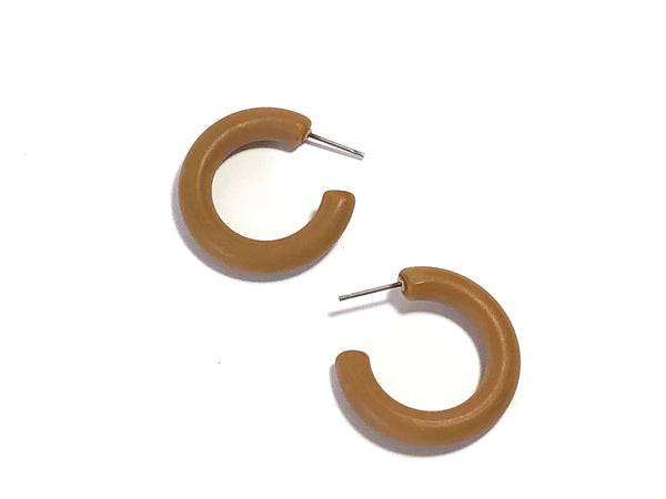 Beige Camel Frosted Tube Hoop Earrings