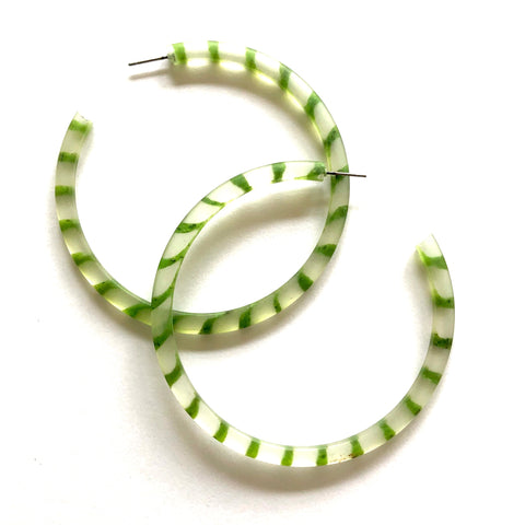 green clear stripe hoops