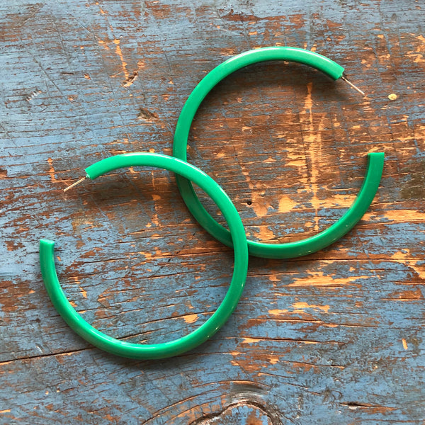 emerald green huge hoops