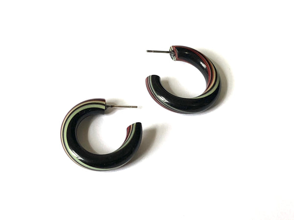 Black Lime & Red Striped Tube Hoop Earrings