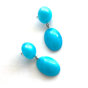 Aqua Blue Aura Glow Jelly Bean Earrings