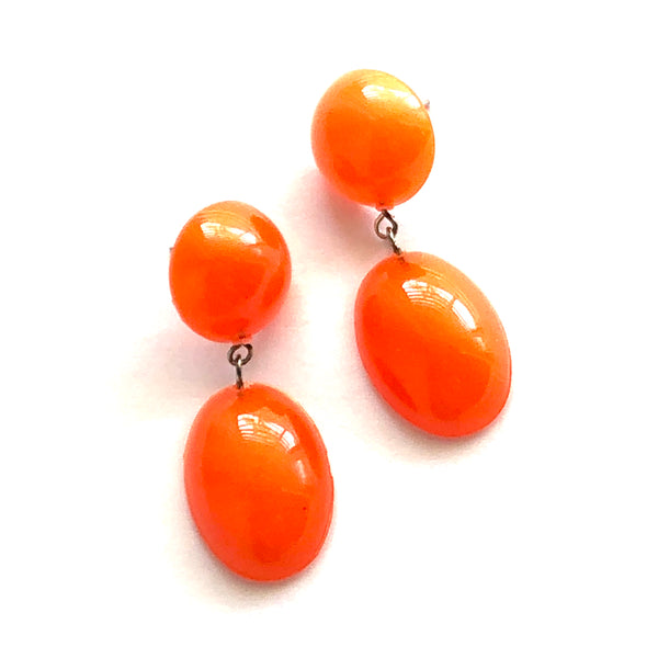 Orange Aura Glow Jelly Bean Earrings