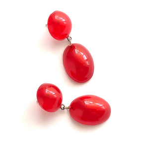 Cherry Red Aura Glow Jelly Bean Earrings