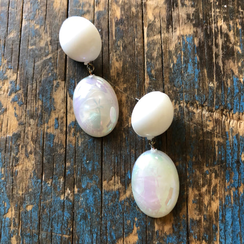 White Aurora Borealis Aura Glow Jelly Bean Earrings