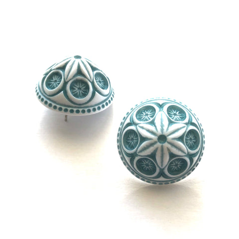 Teal Carved Cornflower Retro Button Stud Earrings