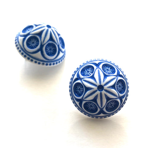 Deep Blue Carved Cornflower Retro Button Stud Earrings