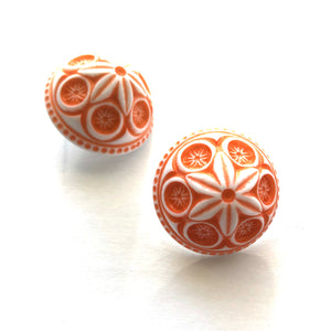 Coral Carved Cornflower Retro Button Stud Earrings