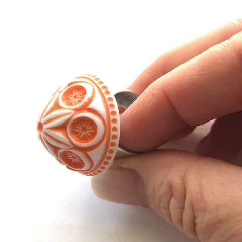 Coral Carved Cornflower Lucite Silver Cocktail Ring