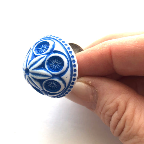 Deep Blue Carved Cornflower Lucite Silver Cocktail Ring