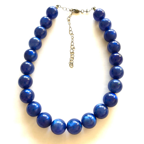 Deep Midnight Blue Moonglow Lucite Marco Necklace