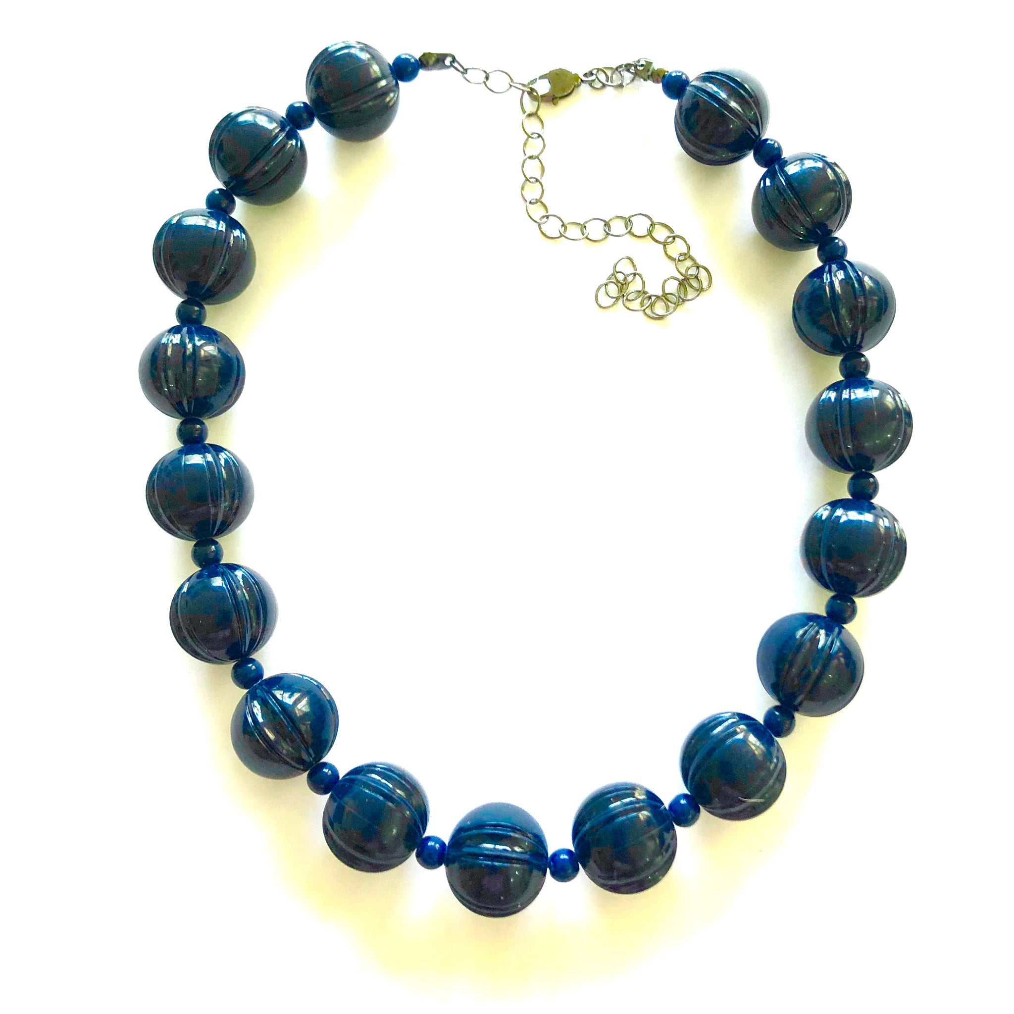Navy Blue Carved Scalloped Lucite Marco Necklace