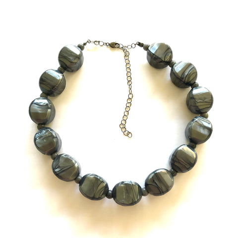 Pewter Marbled Metallic Moonglow Corrugated Marco Necklace