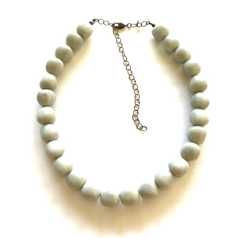 Light Grey Apple Beaded Marco Necklace