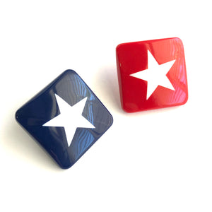 Red White & Blue Square Star Earrings