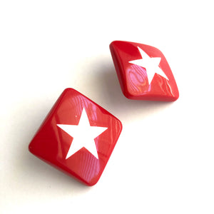 Red & White Square Star Stud Earrings