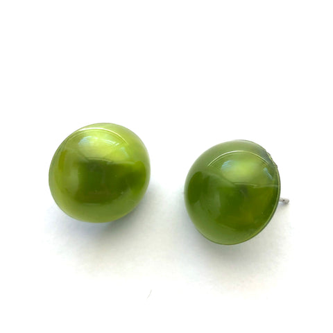 Olive Green Aura Glow Retro Button Studs