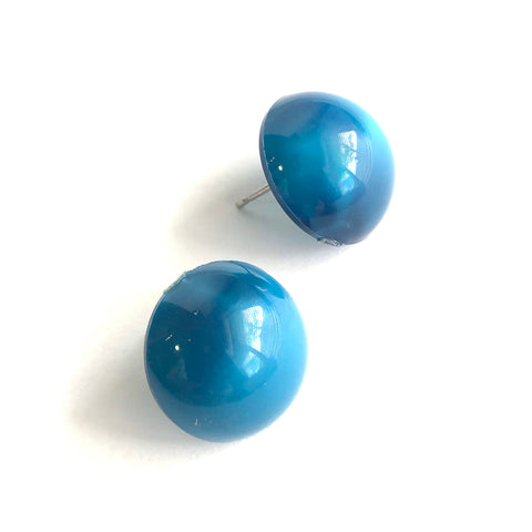 Peacock Blue Aura Glow Retro Button Studs